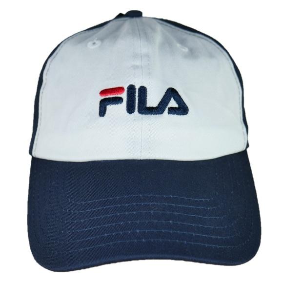 Vtg Fila Baseball Blue White Red Strapback Dad Hat 82f326ba5a5
